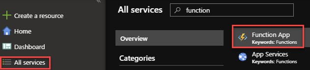 Open Function Apps in the Azure Portal.
