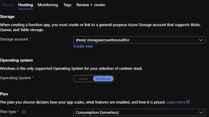 Continue configuring new Function App in the Azure Portal.