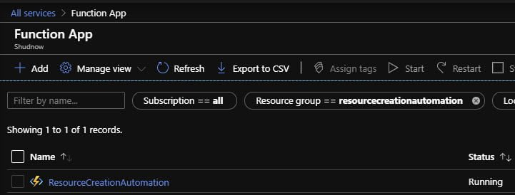 Navigate to new Function App in Azure Portal