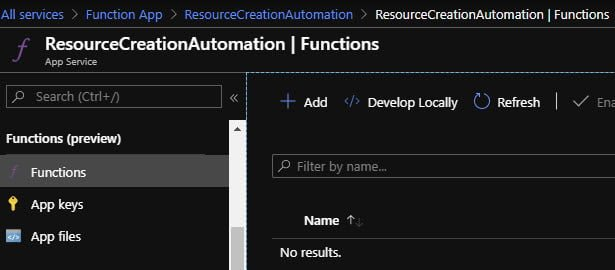 Create a new Function in our Function App in Azure Portal