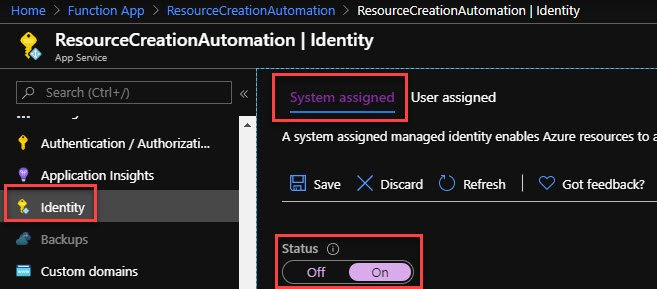 Create Managed Identity for Azure Function