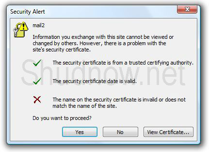 Outlook 2007 Certificate Error Elan Shudnow S Blog