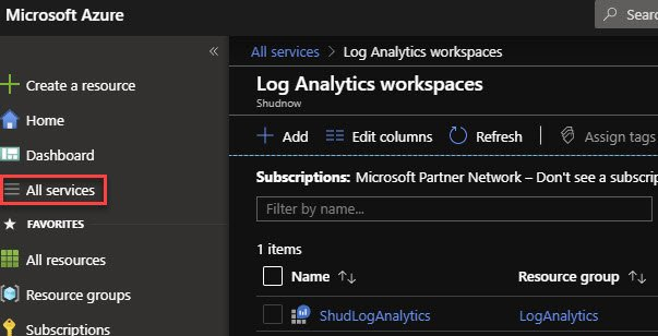 Navigate to your existing Log Analytics Workspace