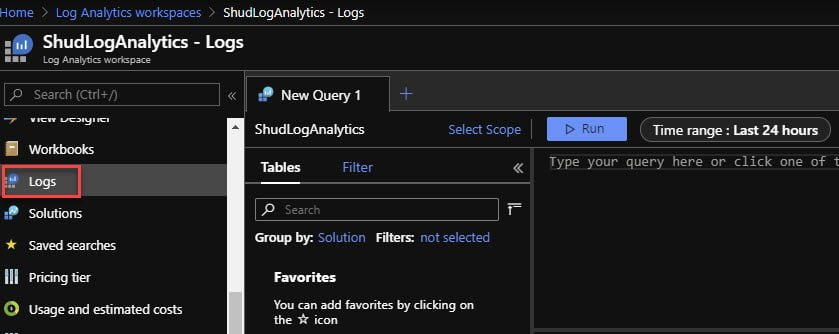 Go into Logs within the Log Analytics Workspace to build KQL queries.