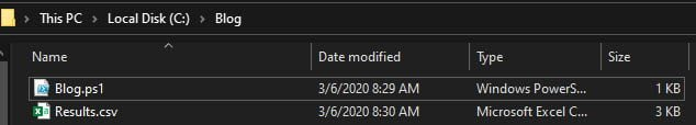 Verify the Results.CSV file has been exported