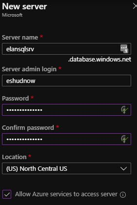 Create an Azure SQL Server