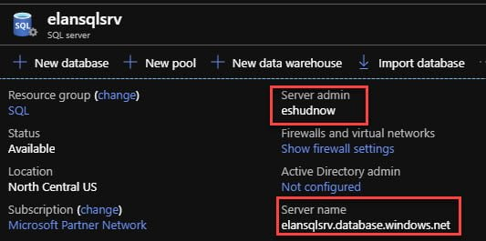 Verify Server admin username and Server name