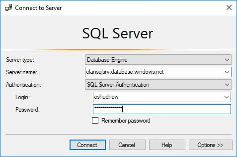 Use SQL Server Management Server to authenticate to Azure SQL Server