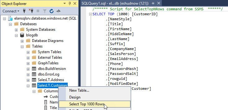 SQL Query to view Top 1000 Rows of SalesLT.Customer Table