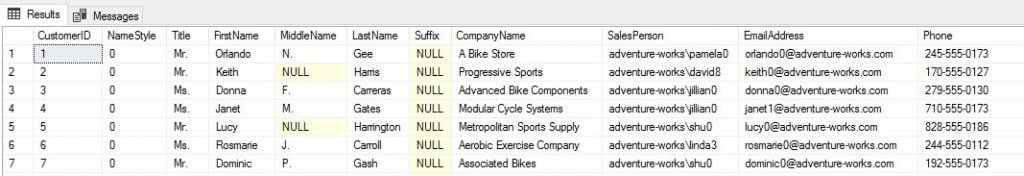 View the SQL Query for the SalesLT.Customer Table