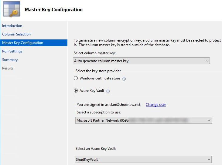 Configure the Master Key for Azure SQL Column Encryption
