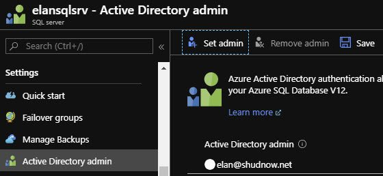 Configure Active Directory admin for Azure SQL Login