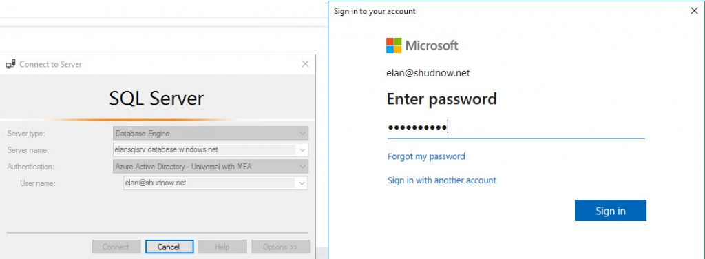 Login to Azure SQL Server with Azure Active Directory account